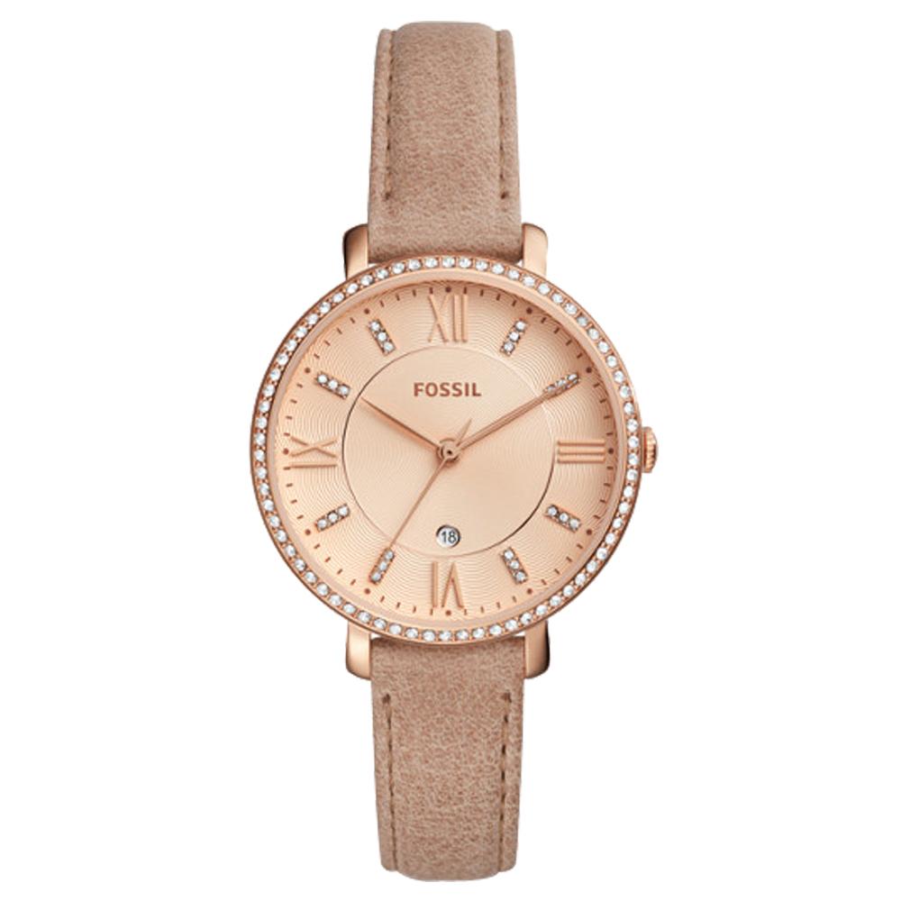FOSSIL 閃耀石英女錶 皮革錶帶 波紋白色錶面 防水 日期顯示 ES4292