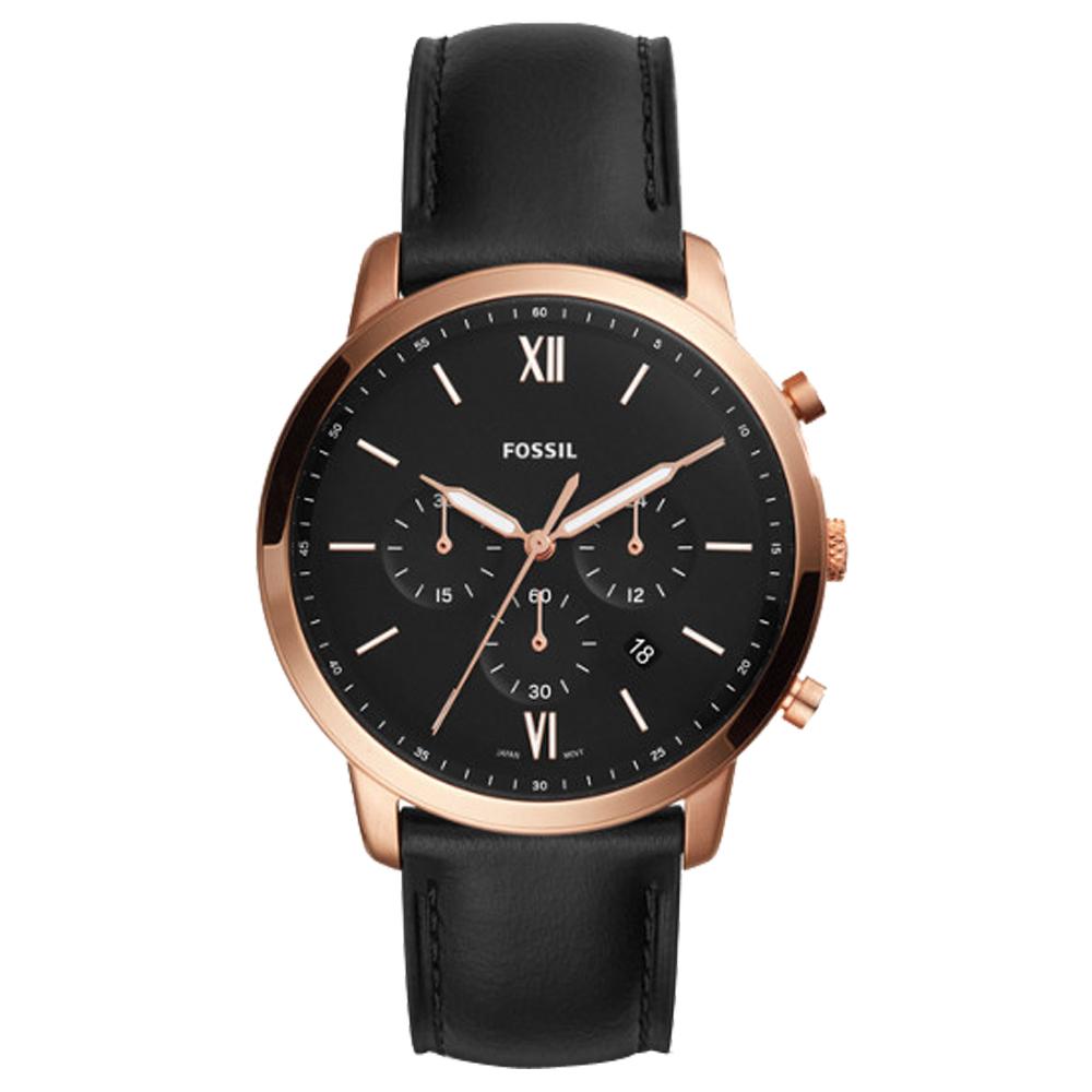 FOSSIL 時尚三眼男錶 皮革錶帶 黑色錶面 防水50米 計時功能 FS5381