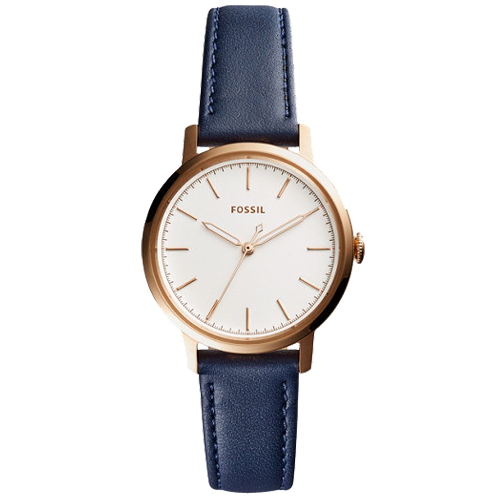 FOSSIL 簡約石英女錶 皮革錶帶 白色錶面 防水 ES4338