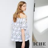 【ICHE 衣哲】時尚天鵝印花平口圓領造型上衣 兩穿