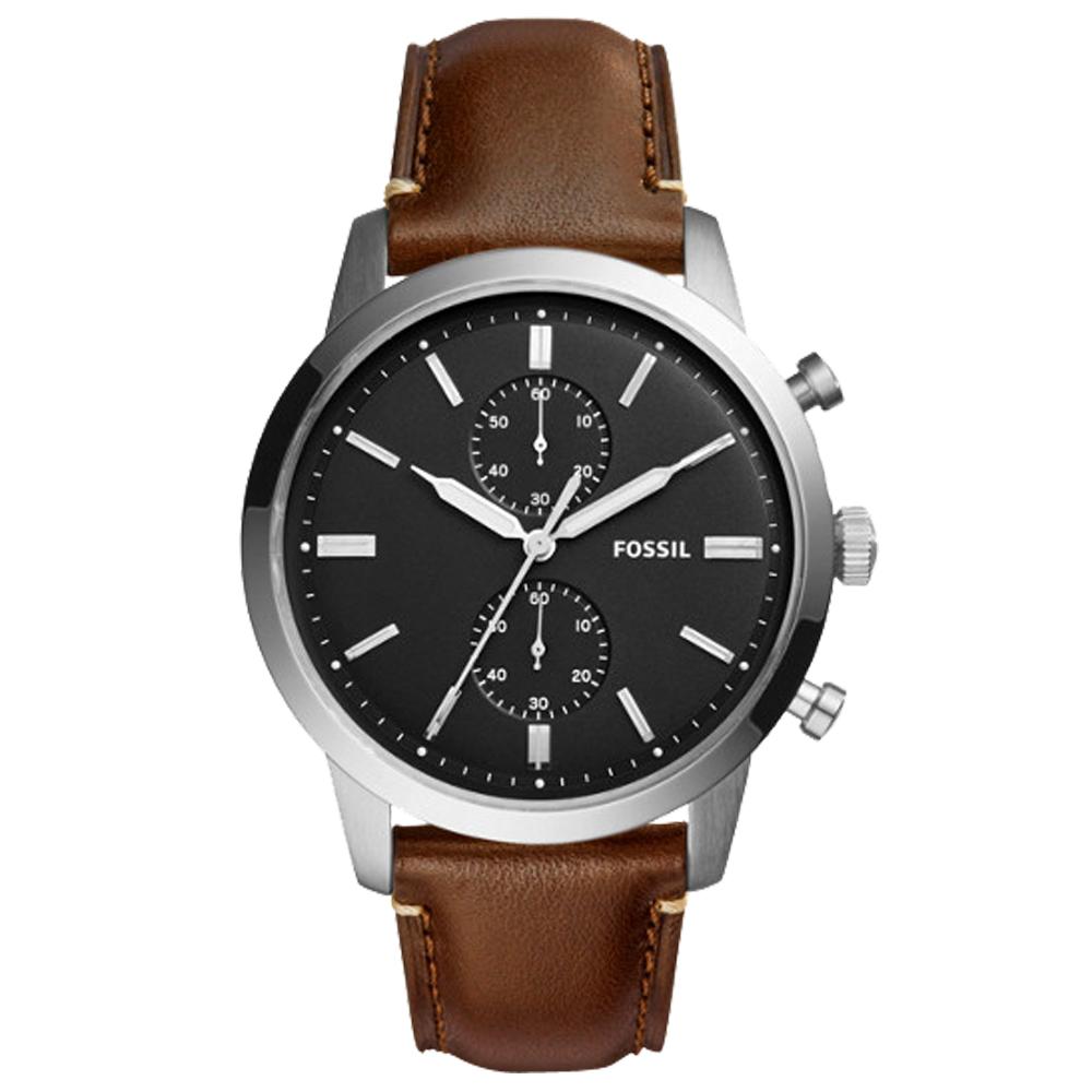 FOSSIL 時尚計時男錶 皮革錶帶 黑色錶面 防水50米 計時功能 FS5280