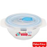 費雪Fisher-Price 雙耳不銹鋼兒童餐具碗附湯匙250ml(藍)