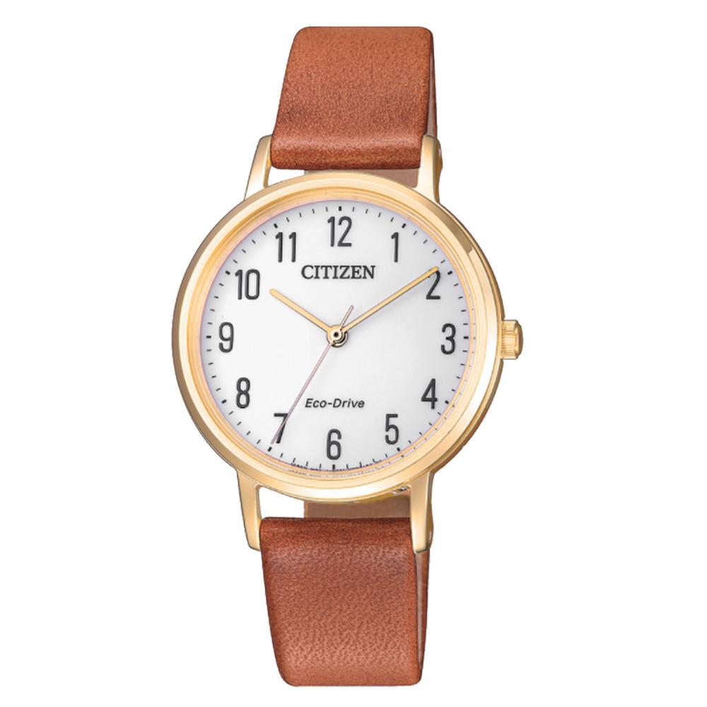CITIZEN 星辰 光動能指針女錶 皮革錶帶 白色錶面 防水50米 EM0578-17A
