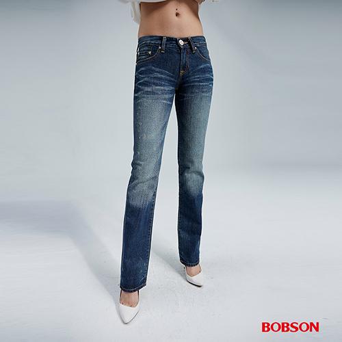 BOBSON  女款貓鬚刷白中直筒褲 (8032-53)