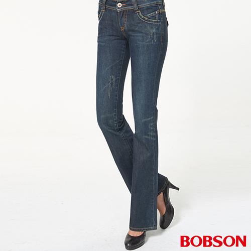BOBSON 女款後袋翅膀刺繡低腰深藍中喇叭褲(9028-52)
