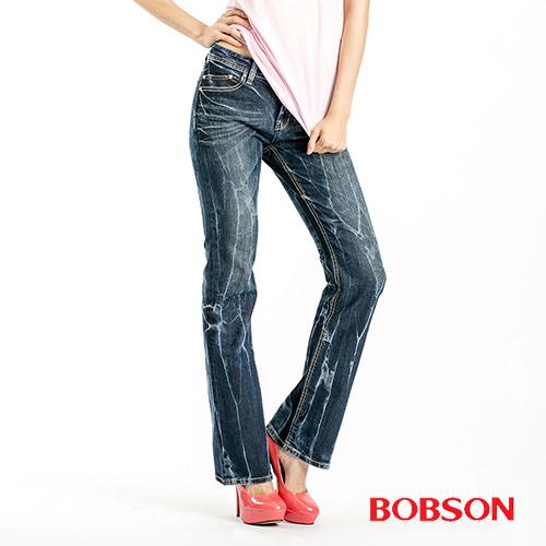 BOBSON 女款縱向重刷紋小喇叭褲  (9086-53)