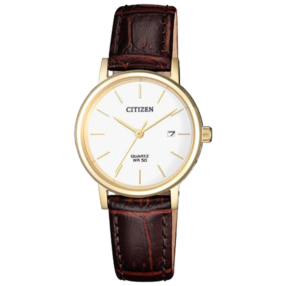 CITIZEN 星辰 石英指針女錶 皮革錶帶 白色錶面 防水50米 日期顯示 EU6092-08A