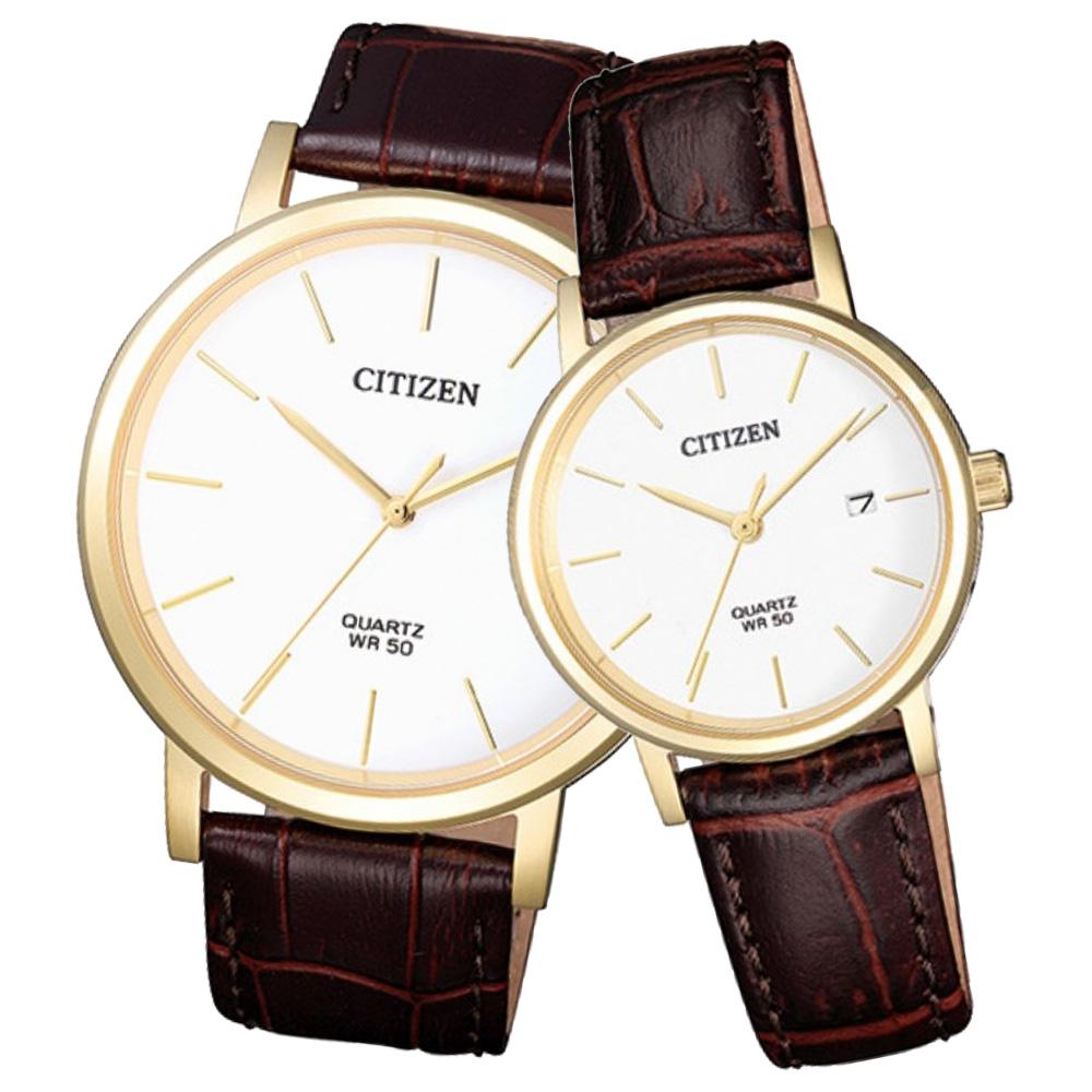 CITIZEN 星辰 石英指針對錶 皮革錶帶 深灰色錶面 防水50米 日期顯示 BI5072-01A+EU6092-08A
