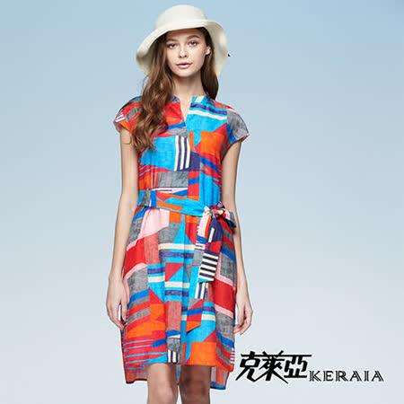 克萊亞 繽紛幾何綁帶絲棉洋裝
