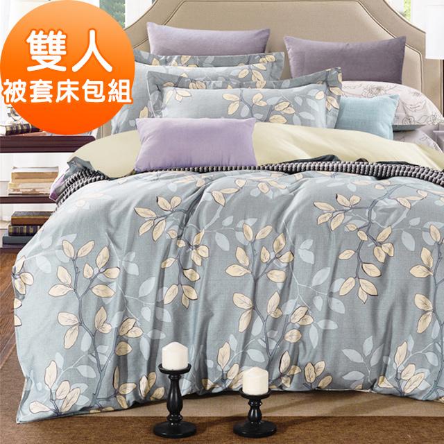 J-bedtime【小葉物語】台灣製牛奶絨吸濕排汗雙人被套床包組