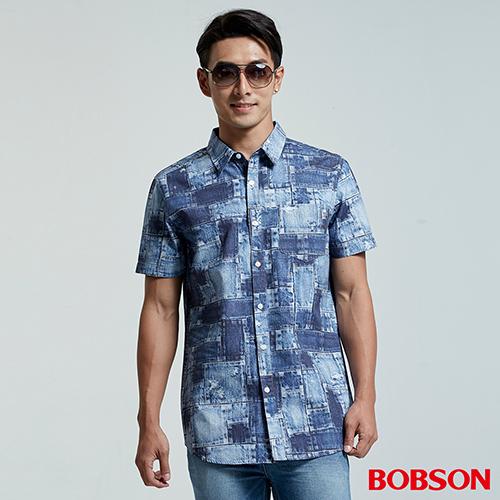 BOBSON男款補釘印花襯衫(26009-53)