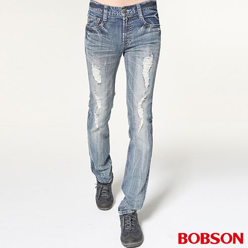 BOBSON 男款貓鬚刷破直筒牛仔褲(藍1753-53)