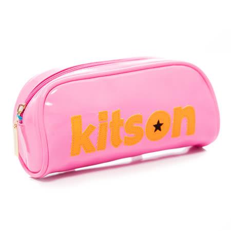 Kitson  星星LOGO 漆皮化妝包 (螢光粉)