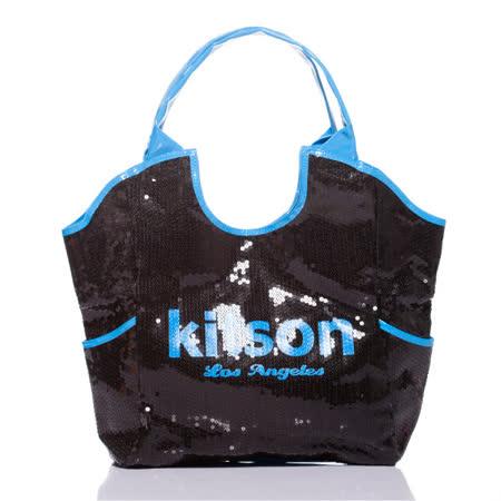 Kitson  雙色亮片托特包 NEON BLUE