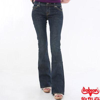 BOBSON 女款磨力美人釘珠伸縮中喇叭褲  (9021-53)
