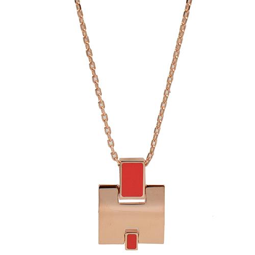 HERMES Eileen  經典H LOGO銀飾項鍊.玫瑰金/珊瑚紅
