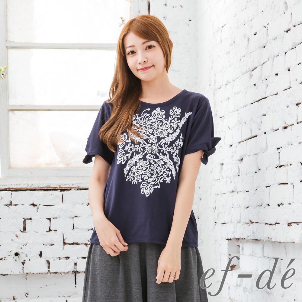 【ef-de】激安 民俗風刺繡綁袖上衣(白/藍)
