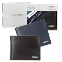 Calvin Klein CK 鐵牌LOGO素面皮革短夾帕巾禮盒(多款任選)