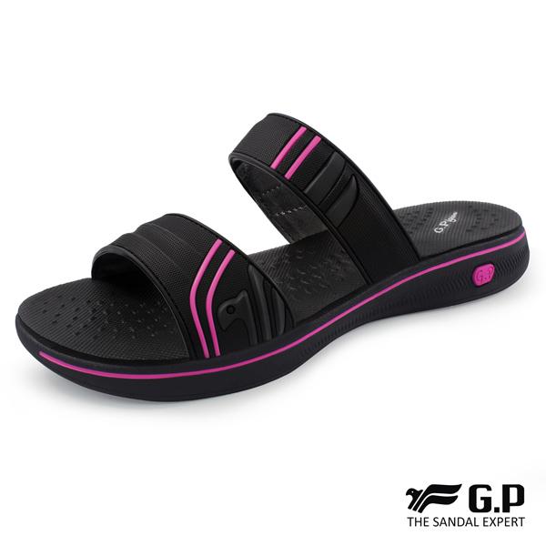 【G.P 女款極輕量舒適雙帶拖鞋】G8589W-黑桃色(SIZE:36-39 共二色)