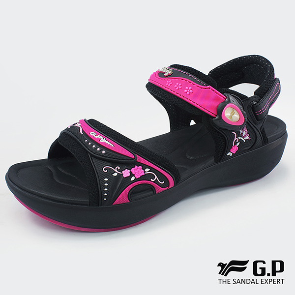 【G.P 女款紓壓緩震厚底磁扣兩用涼拖鞋】G8686W-黑桃色(SIZE:35-39 共二色)
