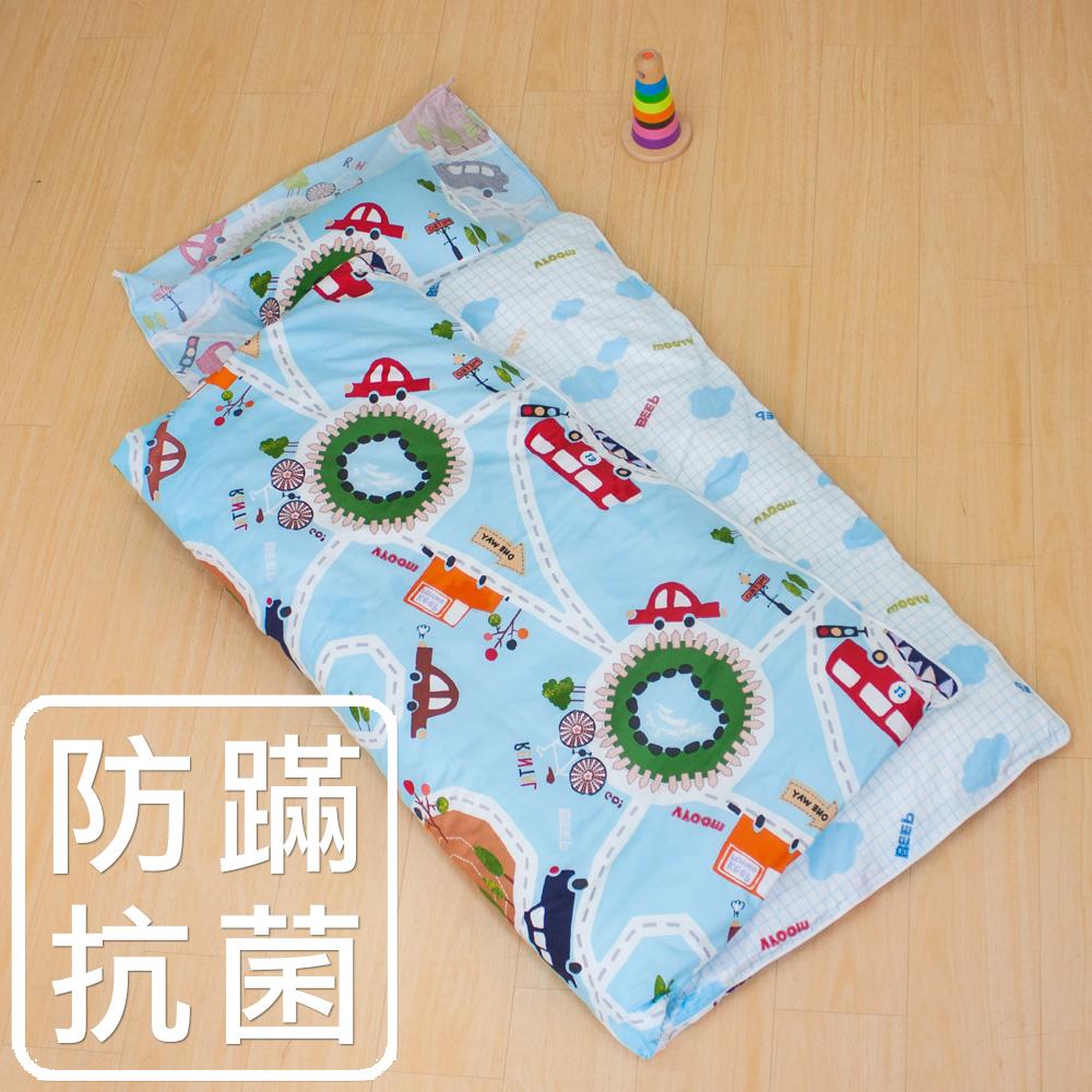 鴻宇HongYew《噗噗車》防蹣抗菌 舖棉兩用兒童睡袋