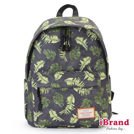 iBrand 學院風印花潮流防潑水口袋後背包-葉子