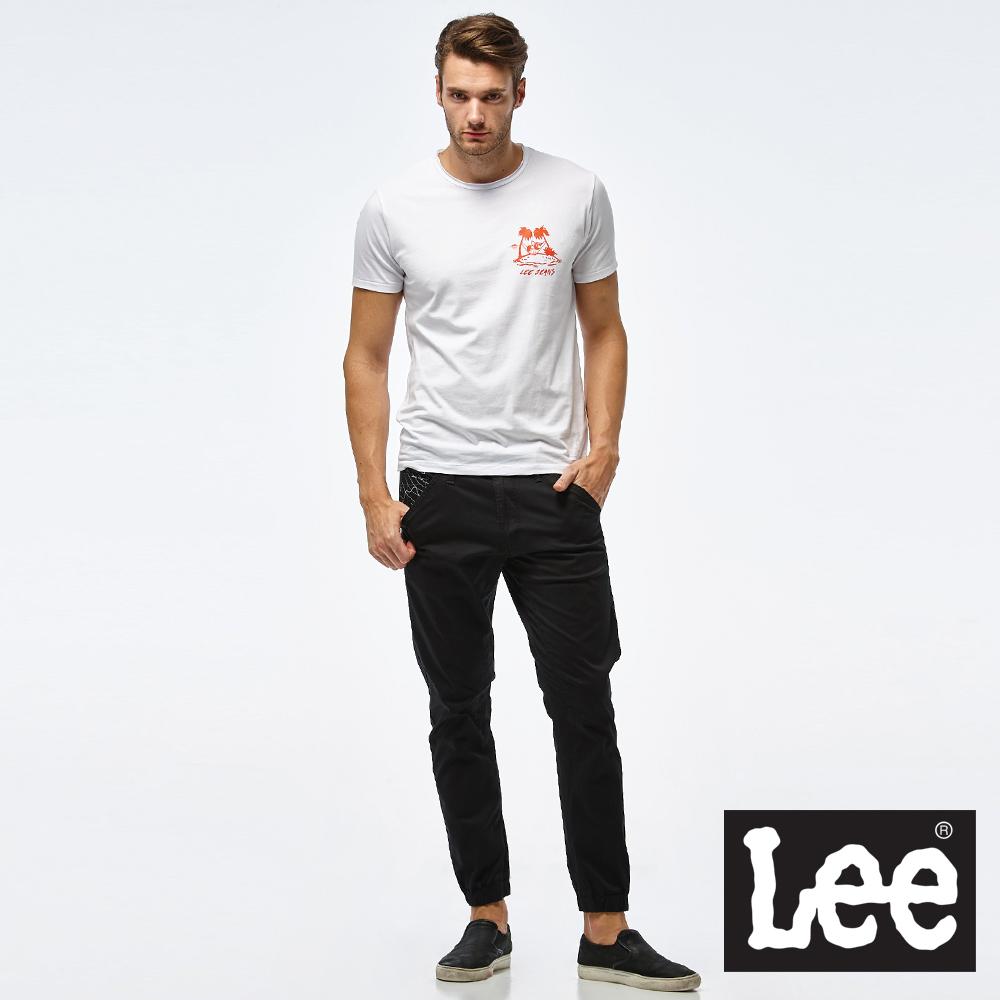 Lee 渡假風圖騰短袖圓領TEE/RG-男款-白
