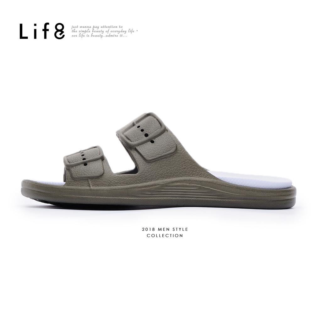 【Life8】Casual 經典款 百搭拖鞋-09861-軍綠