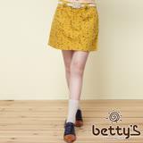 betty's貝蒂思 褲頭蕾絲拼接房子塗鴉短裙(芥黃色)