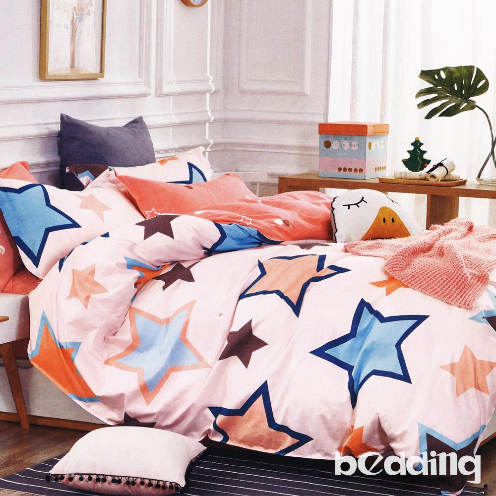 BEDDING-100%棉6尺加大雙人薄式床包+鋪棉兩用被四件組-星辰