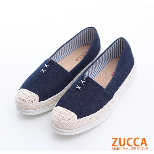 ZUCCA【z6320be】編織縫線平底包鞋-藍色
