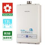 【促銷破盤】SAKURA櫻花 13L強制排氣數位恆溫熱水器 SH-1333/H-1333含運送
