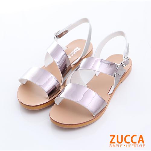 ZUCCA【z6326gy】日系雙橫紋扣環涼鞋-灰色