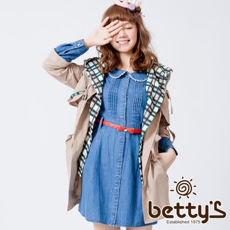 betty's貝蒂思  格紋連帽假兩件大衣