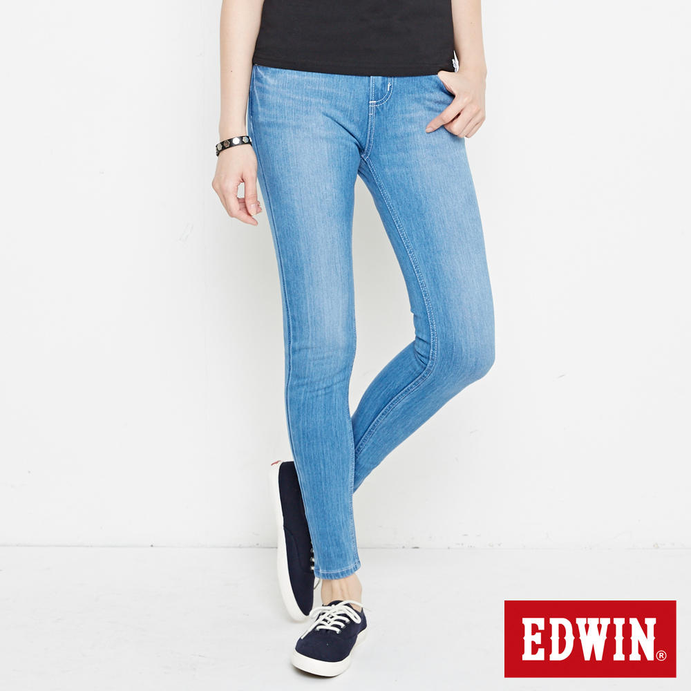 EDWIN JERSEYS 迦績 棉感緊身褲-女款 重淺藍