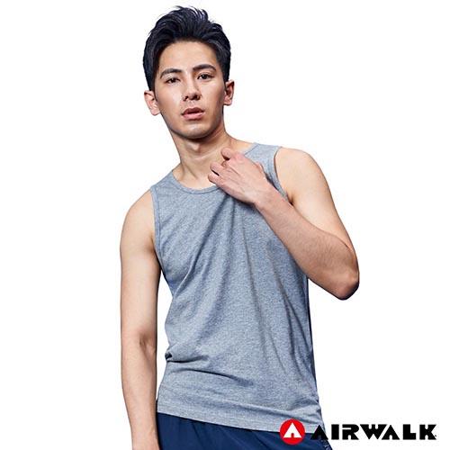 【AIRWALK】男款運動背心-淺麻灰