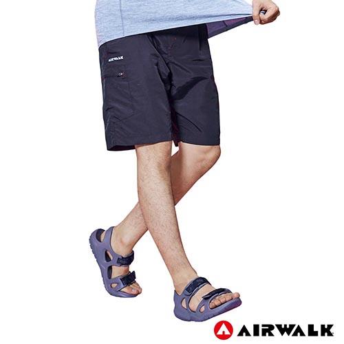 【AIRWALK】男款風衣剪接短褲-黑色