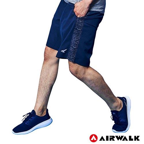【AIRWALK】男款拼接運動褲- 深藍