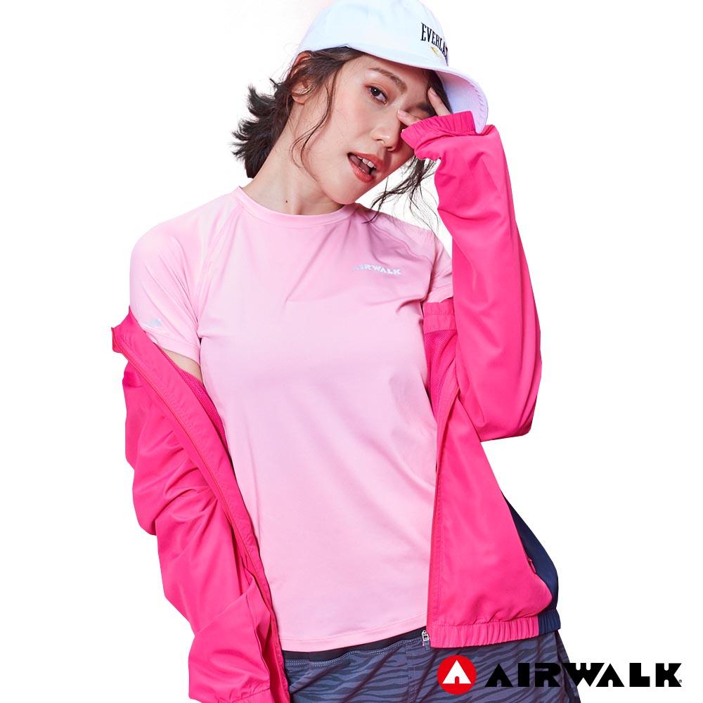 【AIRWALK】女款吸排短T-粉紅