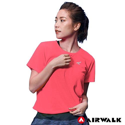 【AIRWALK】女款吸濕排汗T恤-螢光紅