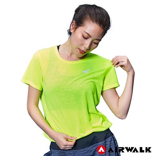 【AIRWALK】女款吸濕排汗T恤-螢光綠