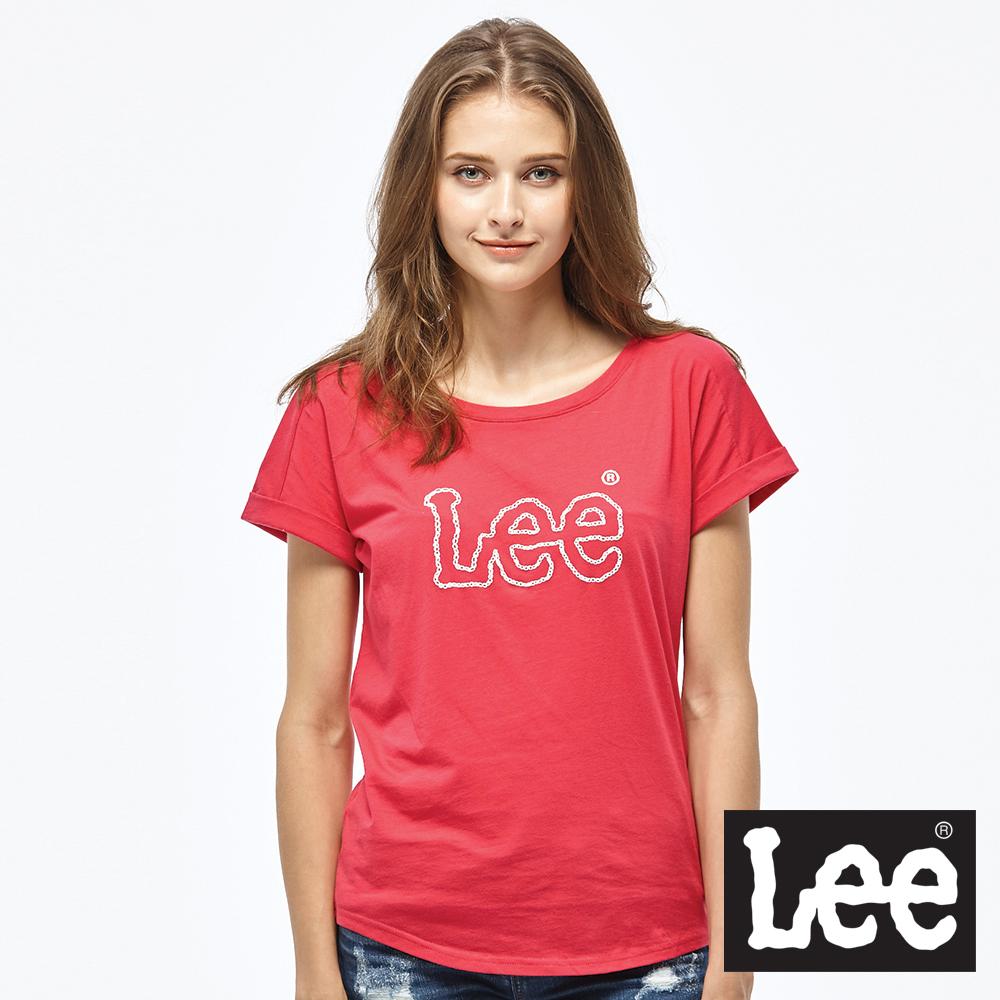 Lee 鎖鏈LOGO短袖圓領TEE/RG-女款-桃紅