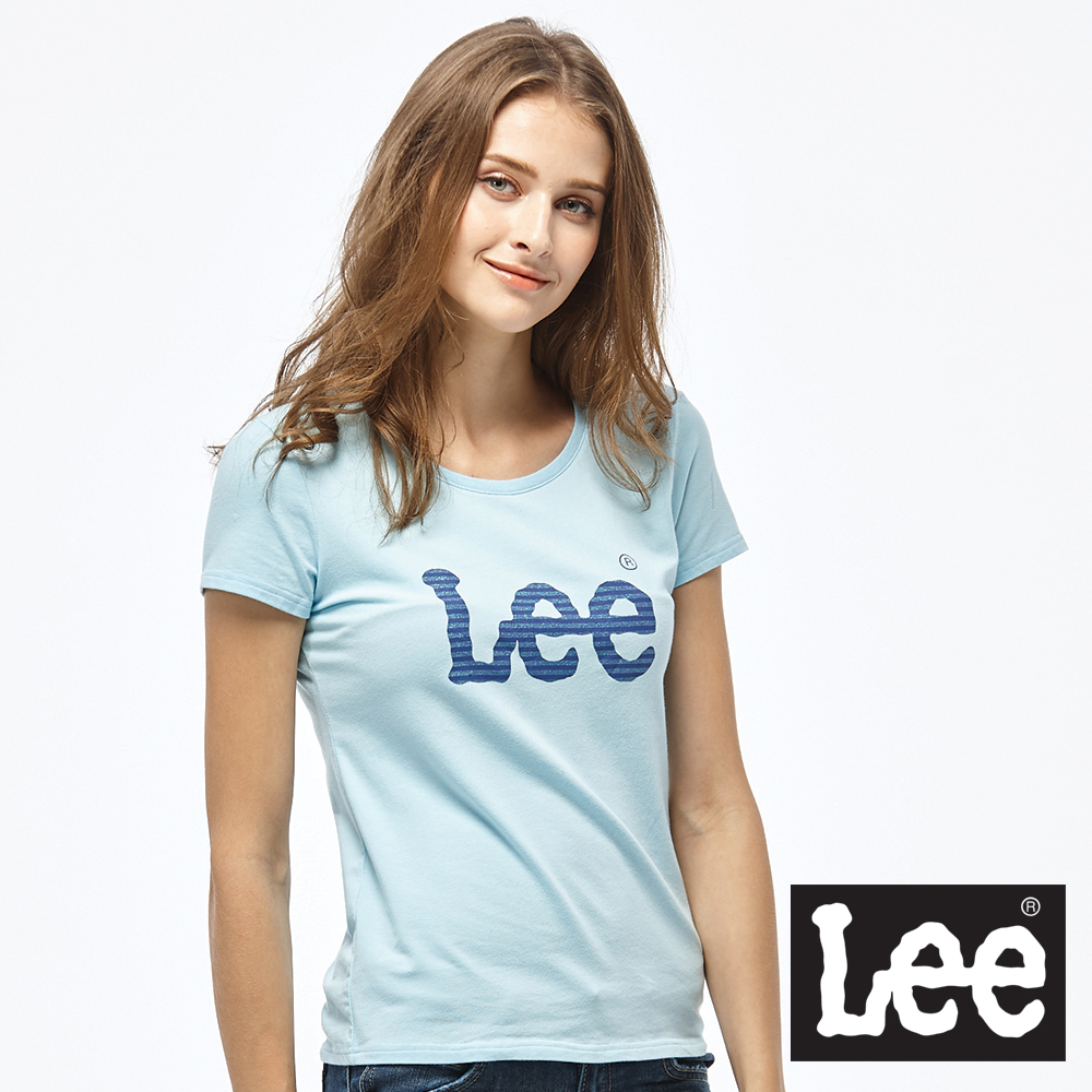Lee 亮片印花LOGO短袖圓領TEE/RG-女款-藍