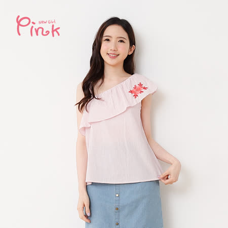 PINK* 單肩荷葉繡花棉質上衣