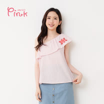 PINK* 單肩荷葉繡花棉質上衣-M2202AQ