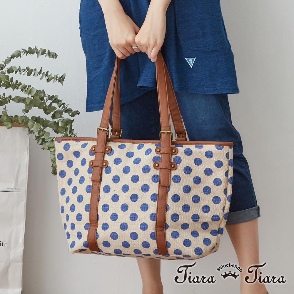 【Tiara Tiara】激安 水玉大點點側背包(藍/綠)