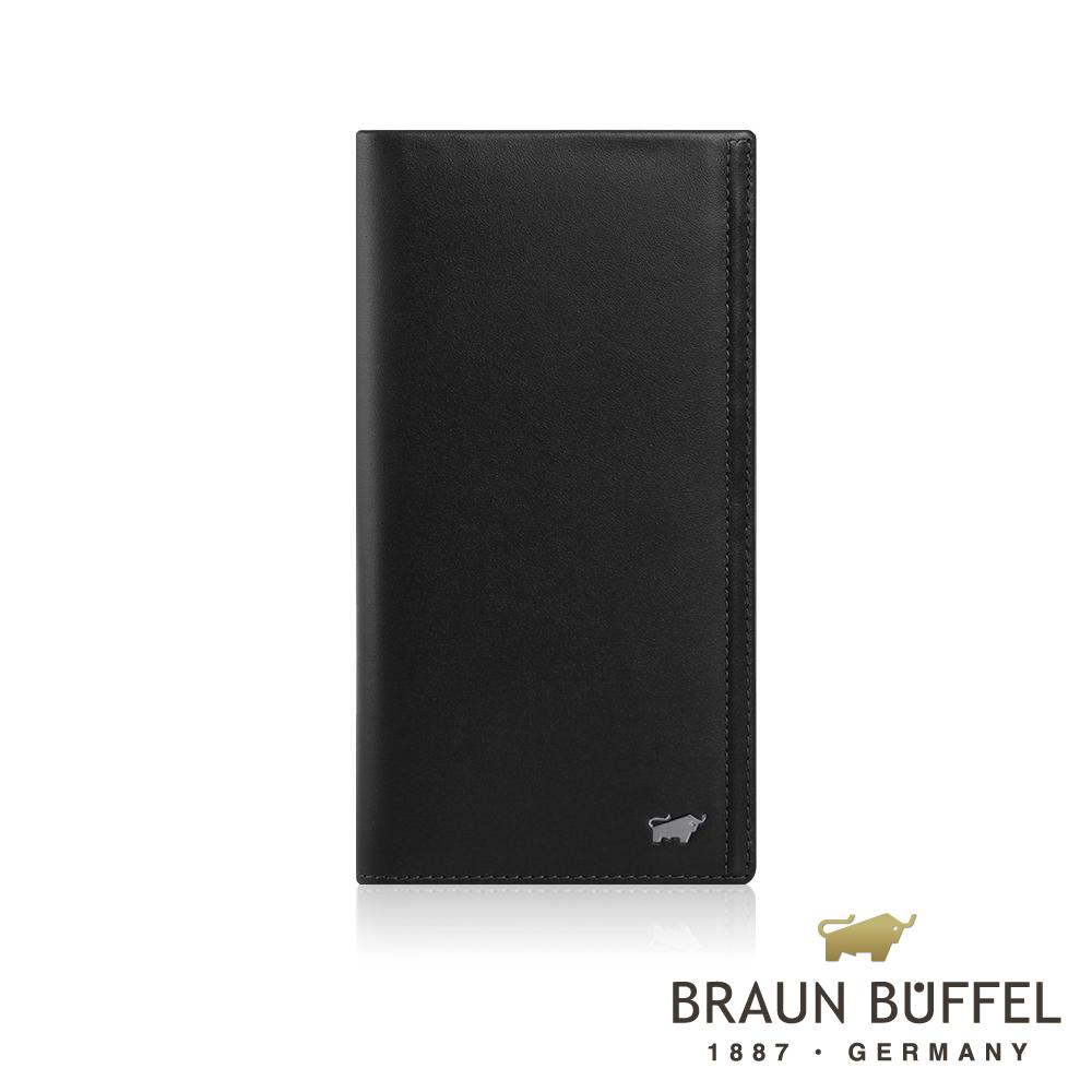 【BRAUN BUFFEL】德國小金牛 安卓系列7卡V型格片長夾(太空黑) BF312-302-BK
