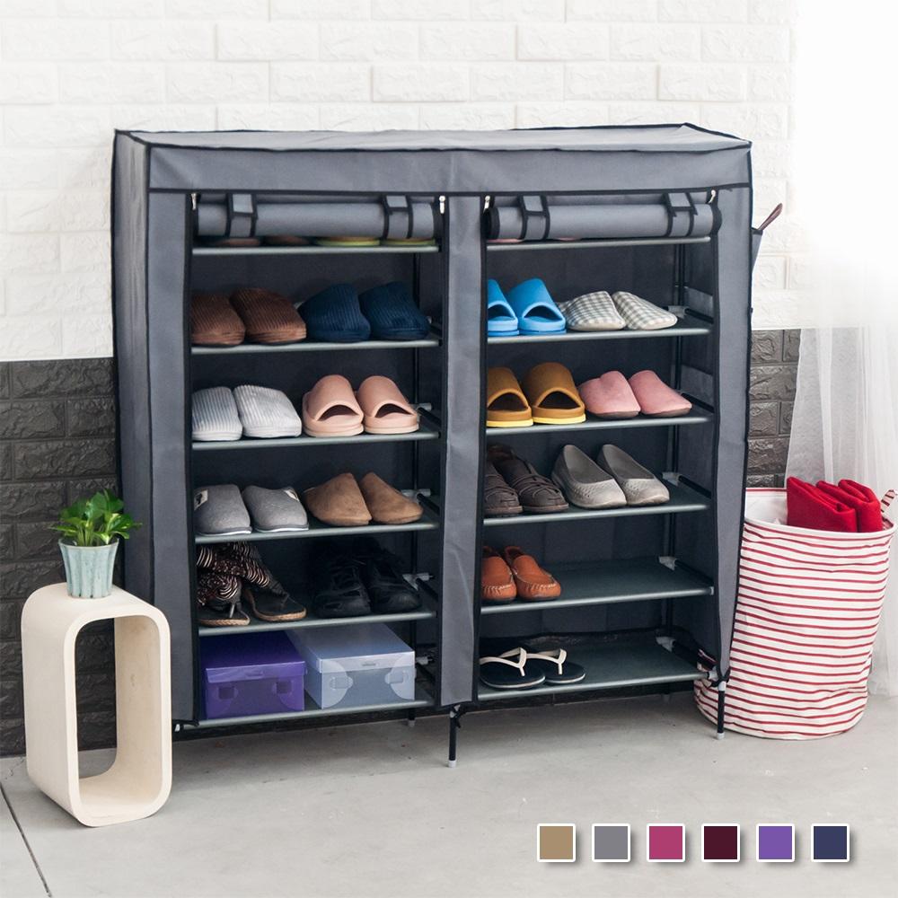 超大雙排加寬12格 簡易防塵組合式鞋架