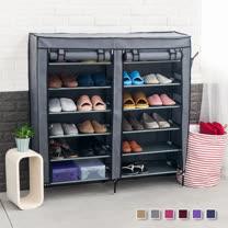 超大雙排加寬12格簡易防塵組合式鞋櫃鞋架