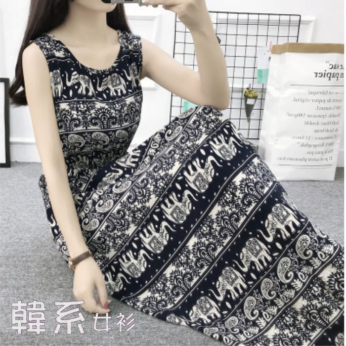 【韓系女衫】人棉海灘裙/3種尺寸/柔軟薄料背心洋裝-泰國福氣象